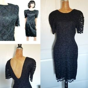 Vintage 80s 90s Black Metallic Lace Cocktail Dress